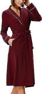 Zexxxy Women Kimono Robe Cotton Long Robe Bathrobe Sleepwear Ladies V-Neck Loungewear S-XXL