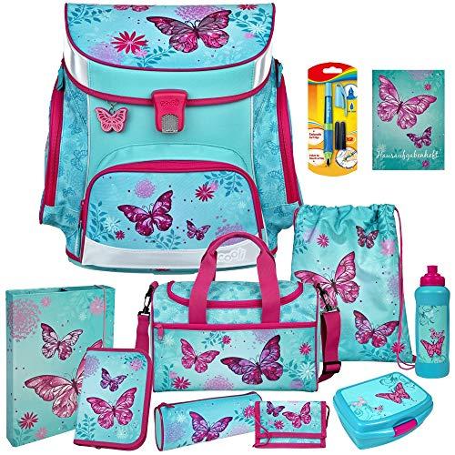 Butterfly - Schmetterling - SCOOLI Undercover Campus FIT PRO Schulranzen-Set 12tlg. mit Sporttasche, BROTDOSE und TRINKFLASCHE - FÜLLER GRATIS DAZU!