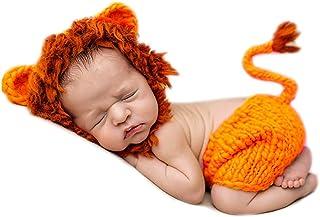 AIXIANG Newborn Baby Photography Prop Handmade Crochet Costume Lion Cap and Pants Set