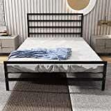 HOMERECOMMEND Modern Metal Platform Bed Frame No Box Spring Needed Simple Style Heavy Duty Platform Metal Bed with Headboard and Footboard Queen Black