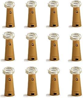 Dreamworth Set of 12 Wine Bottle Cork Lights - 39inch/1m 10 LED Silver Wire Lights String Starry LED Lights for Bottle DIY, Party, Decor, Christmas, Halloween, Wedding or Mood Lights(Warm White)
