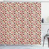 ABAKUHAUS Blumen Duschvorhang, Doodle Blumen & Beeren, Trendiger Druck Stoff mit 12 Ringen Farbfest Bakterie & Wasser Abweichent, 175x200 cm, Mehrfarbig
