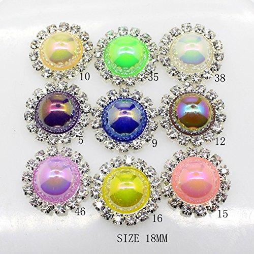 Lot de 20 18 mm rond imitation perles Décorations Strass Bouton flateback DIY Accessoires Mélange 9 couleurs
