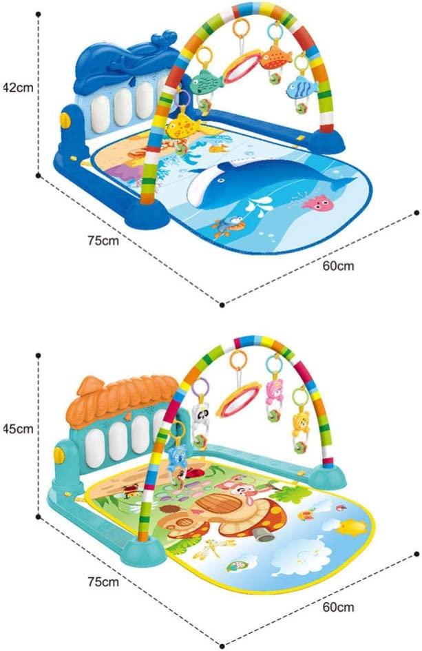 Zeedieren Fitness Frame met Piano Speelmat met Licht en Geluid Leren Tapijt Early Education Activity Gym Speelmat Speelgoed-Waterwezens Waterwezens