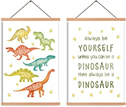 HPNIUB Natural Wood Magnetic Hanger Frame Poster- Dinosour Canvas Wall Art Print, Inspirational Quote Painting Watercolor ...