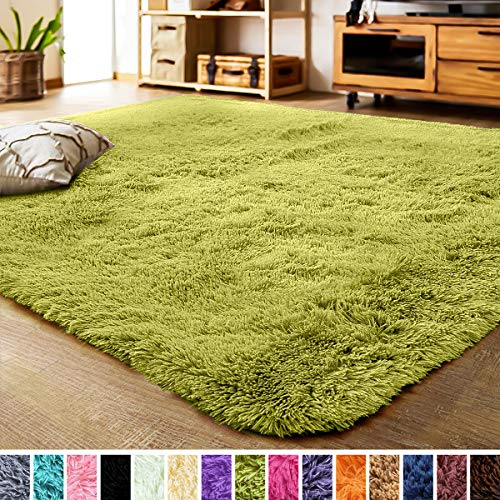 LOCHAS Ultra Soft Indoor Modern Area Rugs Fluffy Living Room Carpets Suitable for Children Bedroom Home Decor Nursery Rug 4x5.3 Feet, Green