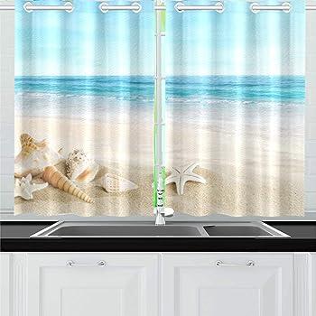 55X39/'/' Starfish Shell Nautical Kitchen Curtains Window Treatments 2 Panels