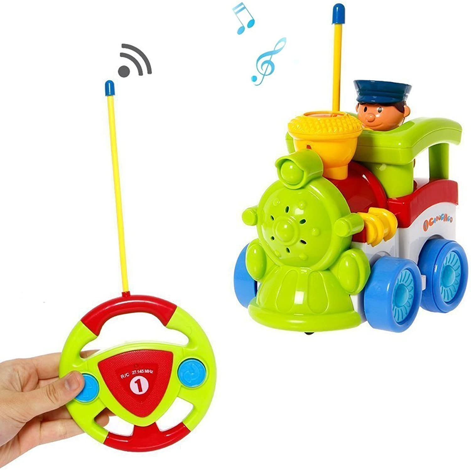 Cartoon R C Train Car Radio Control Toy for Toddlers (Assorted colors)