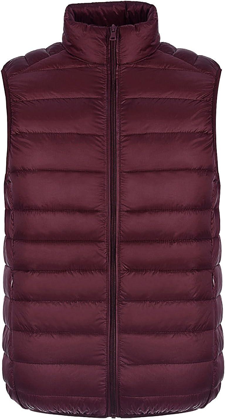 Gihuo Men's Packable Ultralight Zipper Down Vest Outdoor Puffer Gilet