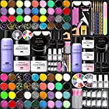 Morovan Acrylic Nail Kit Liquid Monomer Set - Glitter Powder and Carving Powder Set Complete Practice Hand Nail Kits With Everything Professional Kit for French Acrylic Nail Tips Beginners
