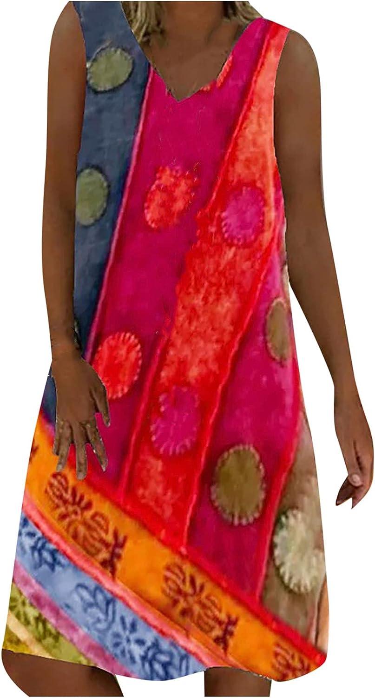 Tank Dress for Women Summer Retro Midi Skirt Ethnic Floral Graphic Print Sundress Sleeveless V Neck Party Ball Gowns