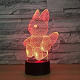 Solo 1 pieza Ardilla 3D Lámpara LED Táctil Acrílico Visual Led Lámpara de noche Luz colorida Noche gradual Decoración para el hogar Creativo
