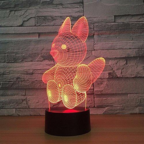Lámpara de mesa 3D ardilla tridimensional multicolor regalo de los niños LED acrílico visual led colorido degradado luz nocturna creativa | Ilusión navideña 7 cambios de color