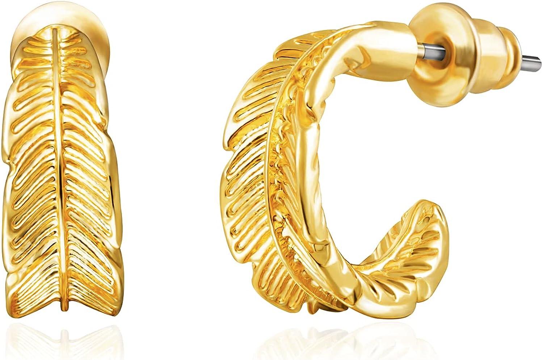 Small Hoop Earrings: Feather Open Hoops Dainty Earrings 14K Gold Plated Earrings for Women Girls Teens