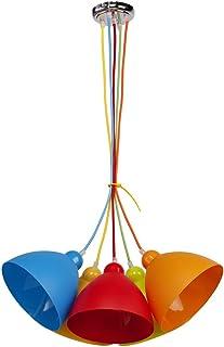 MW-Light 365014505 Lámpara Colgante Moderna de Metal y Acrílico Multicolor en el Dormitorio de Los Niños 5 x 40W E27