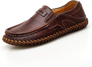 RongAi Chen Driving Loafers for Men Casual Shoes Slip-on Handmade Vegan Stitching Lightweight Breathable Classic Business Flat Genuine Leather (Color : Darkbrown, Size : 10.5 UK)