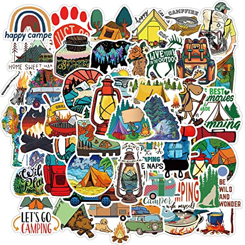 50 Pcs Outdoor Adventure Stickers - Travel Wilderness Nature Stickers Pack Hiking Camping, Waterproof Vinyl Decals for Water Bottle Laptop Luggage for Adults Teens Girls