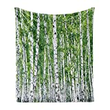 Ambesonne Birch Tree Soft Flannel Fleece Throw Blanket, Fresh Green Leaves Summer Forest Rural Landscape Environmental Image, Cozy Plush for Indoor and Outdoor Use, 50' x 60', Green White