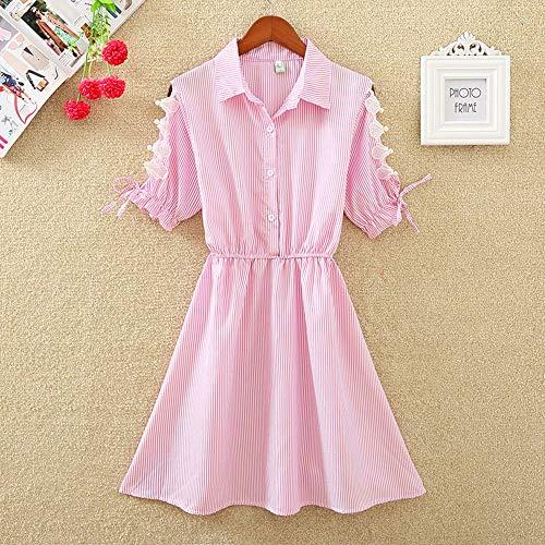 LYQLL Elegante City-jurk, voor kantoor, van katoen, elegant, blauwe kraag, voor het dragen van werkkleding, overhemden voor vrouwen