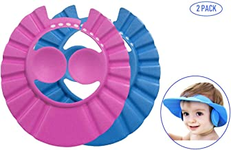 Bllomsem 2 PCS Baby Shower Caps Hüte, Kind Einstellbare Badekappe Shampoo Kappe baby Bade Kappe Hut Duschhaube Kinder Baby Protect Caps Hüte für Babys und Kinder (Blau/Rosa)