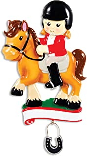 Personalized Horse Rider Christmas Tree Ornament 2019 - Equestrian Girl Riding Horseshoe Dangle Blonde Brunette Horsewoman Jockey Lesson Race Horseback Sports Activity Gift Year - Free Customization
