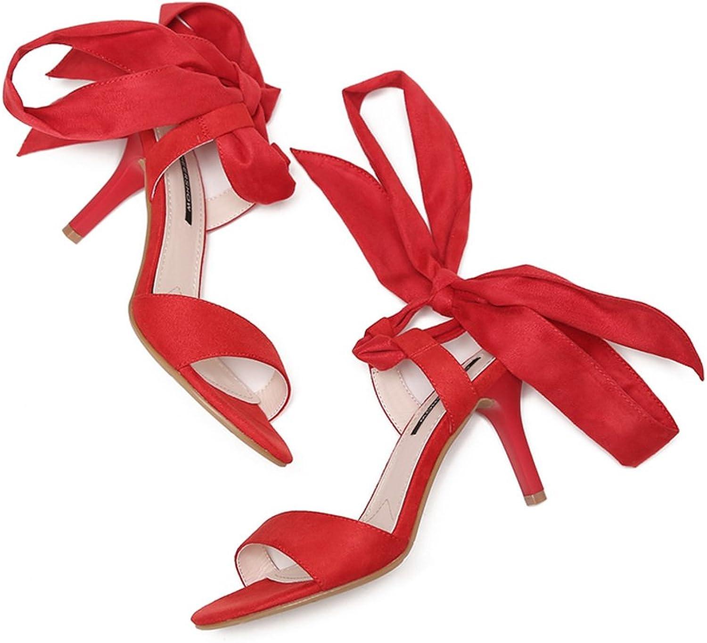 Cross Riemchen Sandalen Sexy Stiletto Wort Peep-Toe Wildlederpumps in Europa Europa Europa und Amerika-Rot Fußlänge=24.3CM(9.6Inch)  cbb945