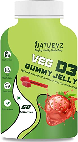 Naturyz Vegetarian Vitamin D3 Gummy Jelly For Bone Health And Boost Immunity With Natural Cholecalciferol From Wild Harvested Lichen 60 Gummies Strawberry Flavour