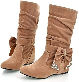 Women's Casual Boots, Bow Rhinestones Increase Pleated Tube Women's Boots Frosted 35-44Yards (Color : Yellow, Size : 36 EU)