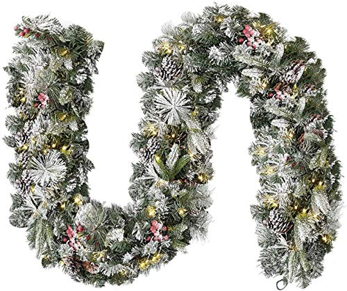 Acebranco Extra Thick Decorated Pre-Lit Garland 9ft DIY 100LED Lights Snow Flocked Garland For Fireplaces Stairs Doors Xmas Tree Garden Yard Décor With Timer (Snow Flocked, DIY Festive Fun)