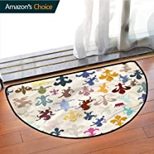 Fleur De Lis Traditional Printed Semi-Circular Carpet, Lions Horses Griffins Bedroom Kitchen Living Room Area Rug, Phthalate Free, Rugs for Office Stand Up Desk, Half Circle-W59.1 x R35.5 INCH