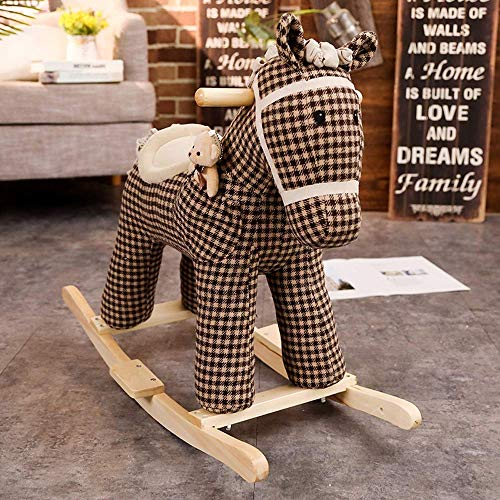 Baby Rocking Horse Chair Kid Ride On Toy for 13 Year Old Antirollover Toddler Indoor and Outdoor Plush Animal Trojan Horse
