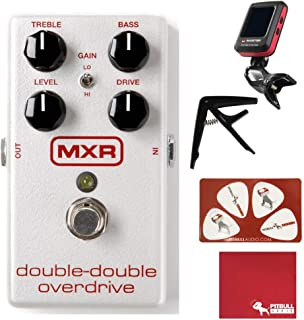 MXR M250 Double-Double Overdrive Guitar Effects Pedal with Polish Cloth, Pick Card, Tuner, and Capo