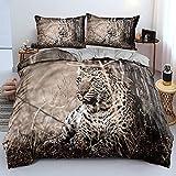 Moda 3D Impreso Leopardo Bestia Juego De Cama Bosque Animales Funda Nordica Juego PoliéSter Adulto Adolescente NiñOs Dormitorio Hogar Textil, 260x220cm, 3 Piezas (1 Funda NóRdica 2 Funda Almohada)
