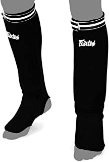Fairtex Shin Pads SPE Elastic Competition Shin Guards for Muay Thai Kick Boxing and MMA Equipment, Guality Thai Boxing Shin Pads. Shins is Price Shown is Per Pair