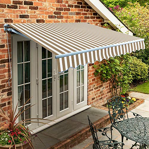 Primrose 2.5m x 2.0m Manual Awning Standard Cassette DIY Patio Awning Gazebo Canopy (8ft 2') Complete with Fittings and Winder Handle (Mocha and White Stripe)