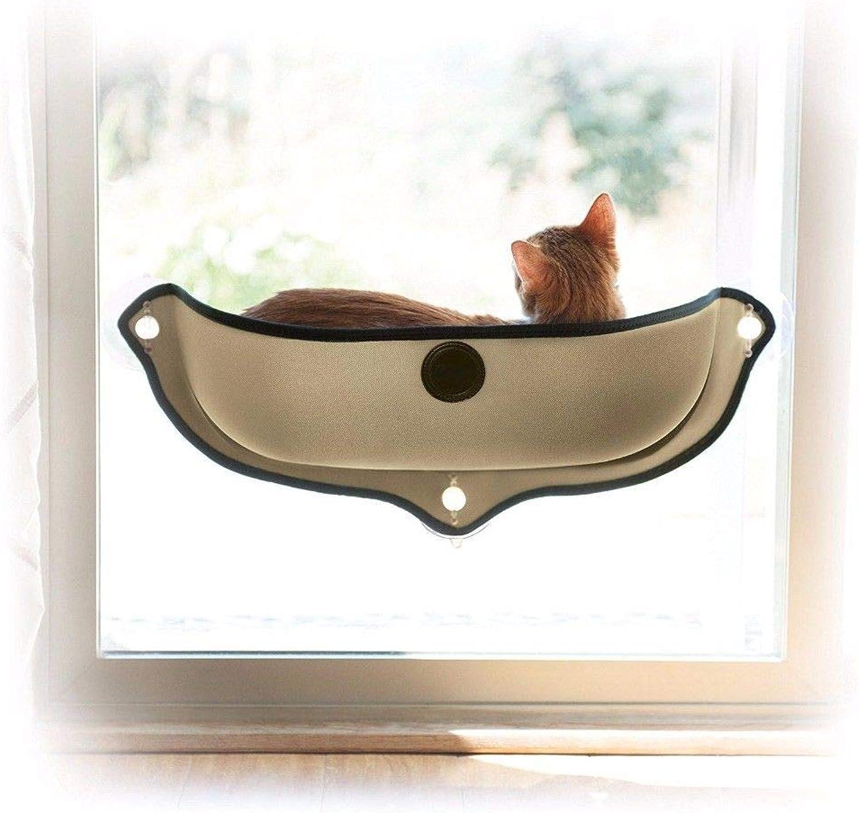 FidgetFidget Cat Window Bed Removable Sunbathing Lounge Mounted Hammock Cushion Hanging Seat Grey 68CMx28CM
