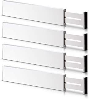 Bamboo Adjustable Drawer Dividers Organizers - Large Expandable Utensil Organizer Separators for Kitchen, Dresser, Bedroom...