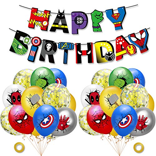 Decoracion Cumpleaños Superheroes Globos de Superheroes Feliz Cumpleaños del Pancarta Superhéroes Marvel Globos Cumpleaños Decoracion
