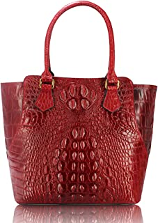 Red Genuine cow leather tote purse with crocodile effect embossed bag purse bag card wallet bag hand painted designer wallet purses for women girls