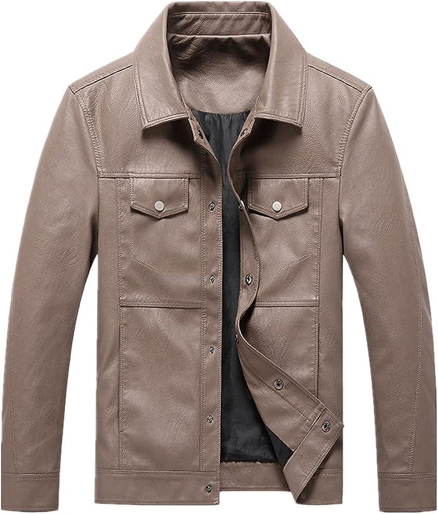 Men Pu Leather Streetwear Punk Long Sleeve Color Business