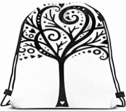 Ahawoso Gym Drawstring Bags Backpack String Bag 14X16 Love Whimsical Tree Silhouette Hearts Nature Papercut Swirly Tattoo Graphic Stencil Fancy Object Sport Sackpack Hiking Yoga Travel Beach