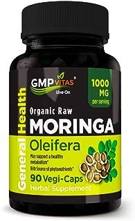 GMP Vitas® Organic Moringa Oleifera Non-GMO 1000 mg 90 Vegetarian Capsules Rich Source of Essential Vitamins Proteins and Antioxidants Boosts Energy and Metabolism