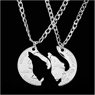 Yfe Couples Necklaces Interlocking Necklaces Couple Jewelry Hand Cut Coin Pendant Silver