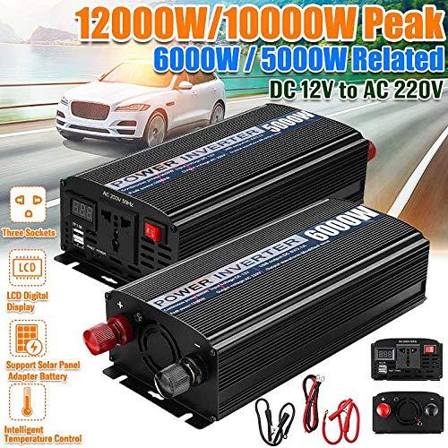 SISHUINIANHUA Inverter Dual USB 12000W / 10000W DC 12V bis 220V AC Auto-Energien-Inverter Ladegerät-Konverter-Adapter Sinus Transformator,12000w