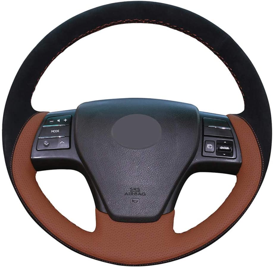 BAWAQAF Max Fashionable 81% OFF Car Steering Wheel Hand-stitchedSuede Leathe Brown Cover