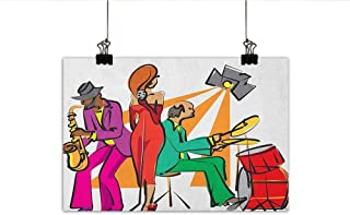 homehot Music Art Oil Paintings Jazz Band Playing on The Stage with Singer and Illustration of Neon Artwork Print Canvas Prints for Home Decorations 24
