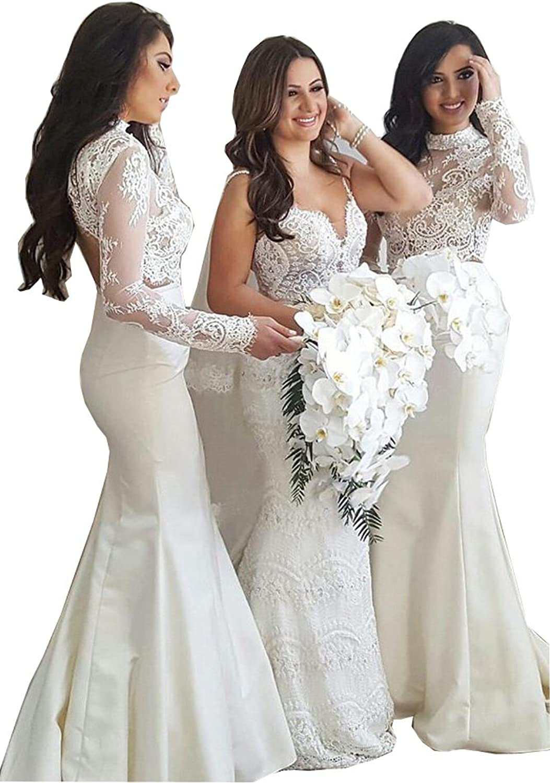 CCBubble 2 Piece Bridesmaid Dresses Mermaid 2018 Long Sleeves Lace Bridesmaid Dresses