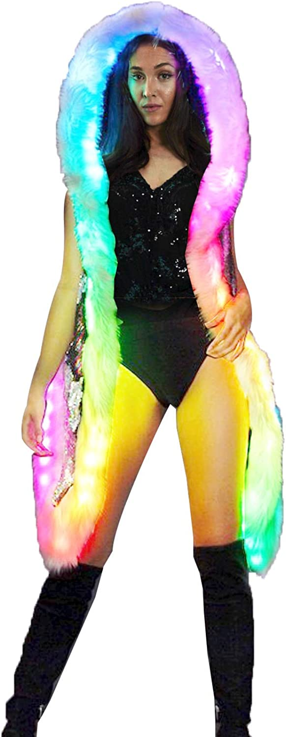Led Fur Coat Cheap mail order specialty store Rave-Jacket Translated Light-Up-Sequin-Vest-Hoodie-Glowing-Fes