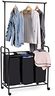 Tangkula 3-Bag Rolling Laundry Sorter, Heavy-Duty Laundry Hamper Sorter Cart with 3 Removable Large Bags, Wheels and Hanging Bar (Black)