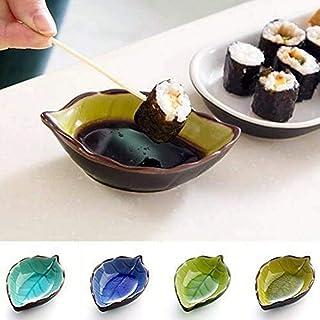 Voarge 4 sztuki mini miseczek ceramicznych w kształcie liści, ręcznie wykonane miseczki na sosy, wykonane z ceramiki, zest...